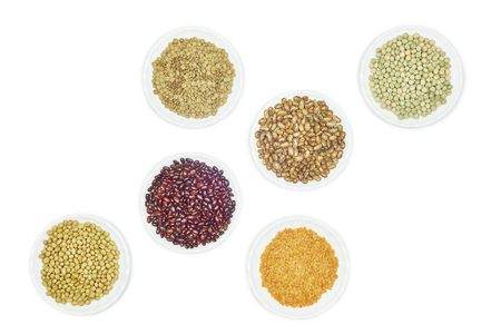 kidney bean: View of various kinds legumes on white background
