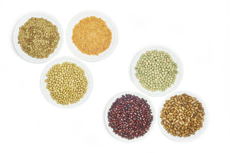 kidney beans: View of various kinds legumes on white background