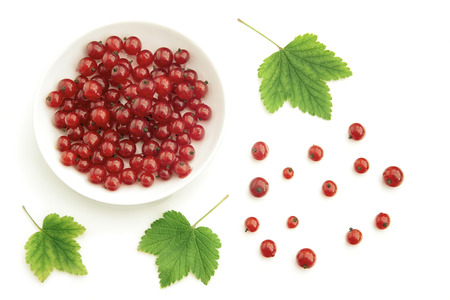 loosely: View of fresh red currant berries placed loosely or in a bowl