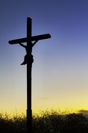 big bible: View for the morning cross with a blue sky background