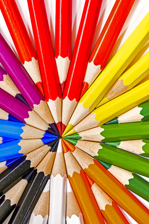 Macro differently colored end of colored crayons