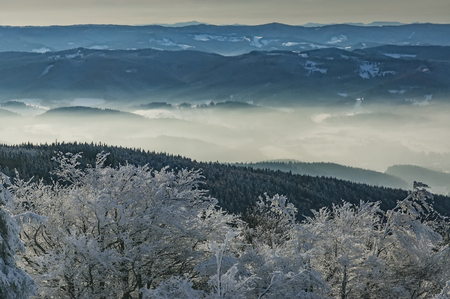 View to a winter landscape Beskydy mountains  Czech Republic Stock Photo