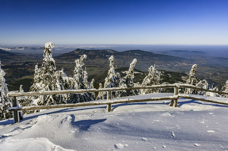 moravia: View to a winter landscape Beskydy mountains  Czech Republic Stock Photo