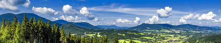 Panoramic view in the summer mountainous landscape Beskydy MountainsCzech Republic