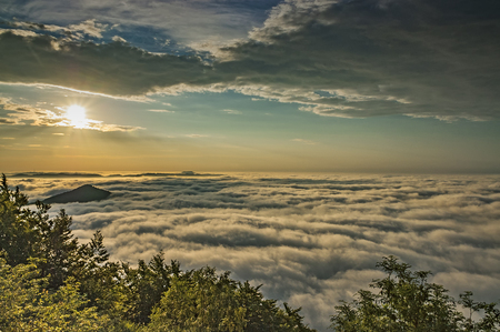 inversion: View from the mountain of Mileovka  Czech Republic