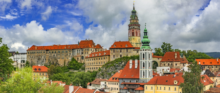 Panoramic summer view of the castle of Czech Krumlov and the surrounding surroundingsCzech Republic