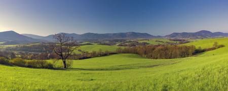 View for panorama spring mountainous landscape Czech Republic