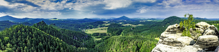 View on panorama summer landscape with sandstone rocks and trees Czech Republic