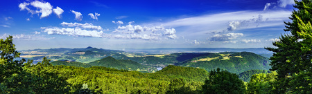 Panoramic view of the summer landscape of the Czech Middle MountainsCzech Republic Stock Photo