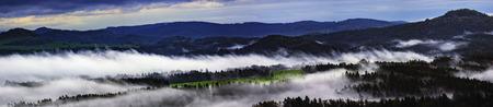 Morning panoramic view of the landscape of Czech SwitzerlandCzech Republic