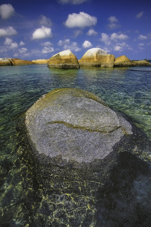 View of a group of big stones on the Tanjung Tinggi beach from island BelitungIndonesia