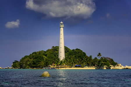 View of Lengkuas Island with white lighthouse / Belitung-Indonesia / Stok Fotoğraf