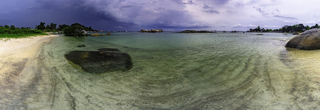 Panoramic view of Tanjung Tinggi beach  Belitung  after the storm Reklamní fotografie