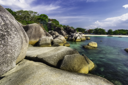 View of a group of big stones on the Tanjung Tinggi beach from island Belitung/Indonesia/