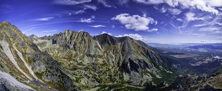 Panoramic view of landscape in autumn sunny day in High Tatras, Slovakia Stok Fotoğraf