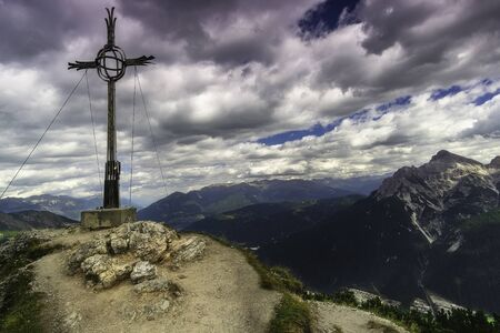 Views of the Cross above Kreuzjoch from Tyrol in Austria Stok Fotoğraf