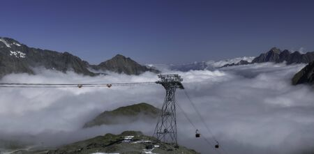 The panoramic view from the cable car station Eisgrat the mountains of the Stubai Alps