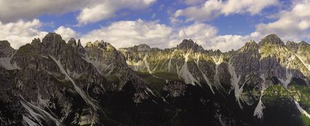 Panorama view from the mountain saddle Kreuzjoch the mountains of the Stubaier Alps in Austria Stok Fotoğraf