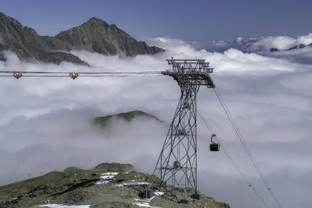 The view from the cable car station Eisgrat the mountains of the Stubai Alps Stok Fotoğraf
