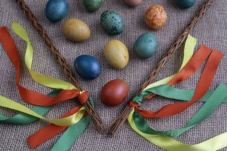Easter eggs with differently colored Easter eggs
