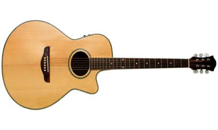 guitarra acustica: Una guitarra ac�stica aislada en un fondo blanco