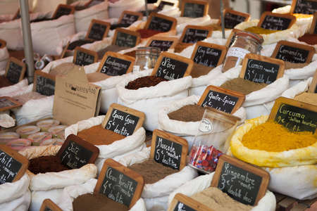 spice: Spices at a market in Saint Tropez, France Stock Photo