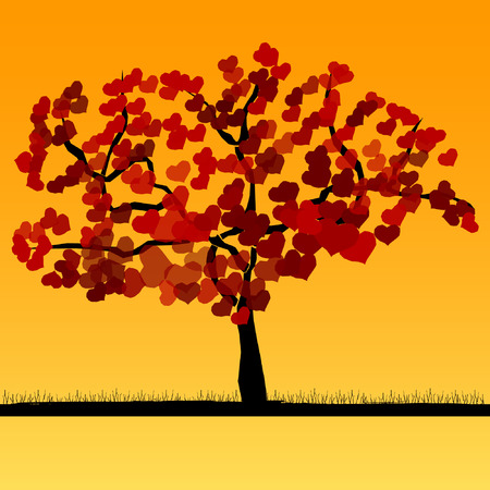 heart shaped leaves: tree with heart shaped leaves Illustration