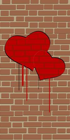 brick wall love Vector