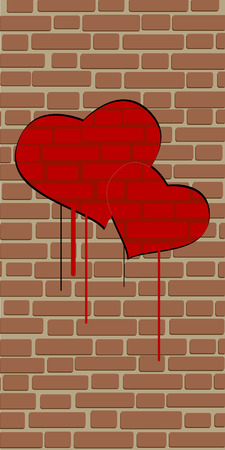 split level: brick wall love Illustration