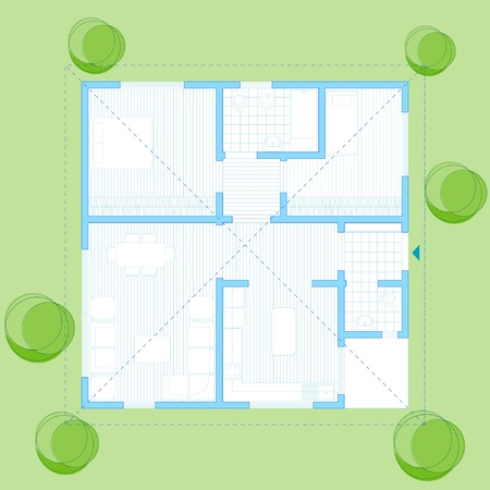 100 m2 single  house plan Stock Vector - 2403528