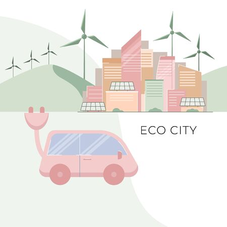 Cityscape with skyscrapers, windmills, solar panels, car,vector illustration.
