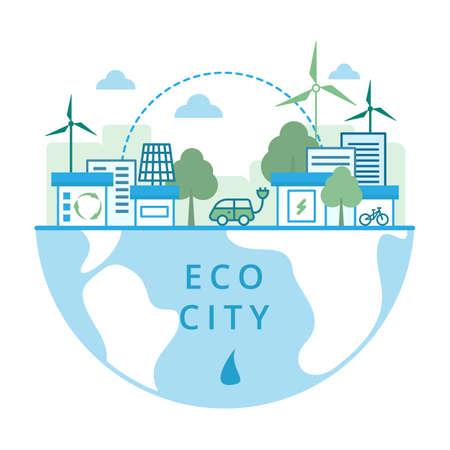 Renewable energy concept. Green City. Cityscape with solar panels and wind turbines. Vector illustration Illusztráció