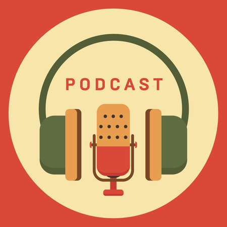 Podcast radio icon illustration. Studio table microphone with broadcast text on air.