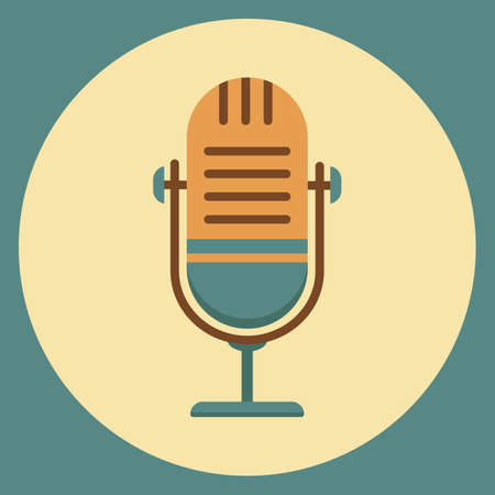 The microphone icon in a fashionable flat style. Logo, application, user interface.