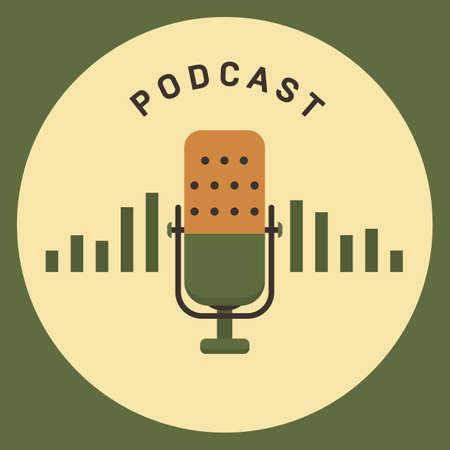 Flat concept of podcasting vector, Internet digital recording, online broadcasting illustrated banner.