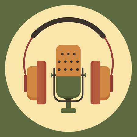 The microphone icon in a fashionable flat style.