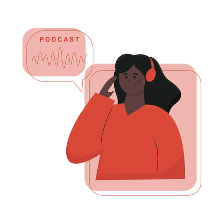 Podcast concept illustration. Young female listening to podcasting.
