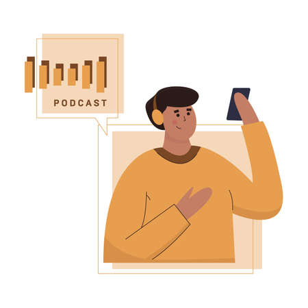 Podcast concept illustration. Young man listening to podcasting.