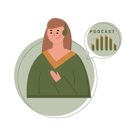 Podcast concept illustration. Young girl listening to podcasting. Ilustrace