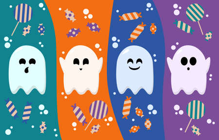 Flying ghost spirit holding. Happy Halloween. Halloween candy. Scary white ghosts.