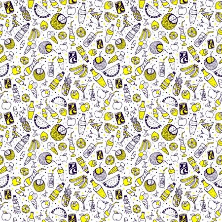 yellow umbrella: Summer seamless set, very stylish and cute Illustration