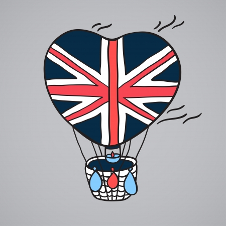 Multi-colored balloon with Britain flag Vector