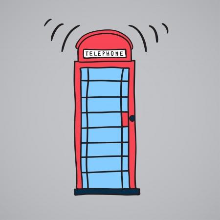 bus anglais: Londres stand de téléphone portable, illustration vectorielle