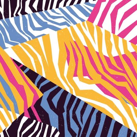 얼룩말의 원활한 다채로운 동물의 피부 질감 일러스트