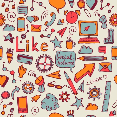 Vector seamless pattern of hand drawn social doodles Vector