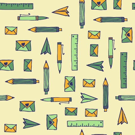 Business hand drawn background, vector. Doodle office pattern Vector