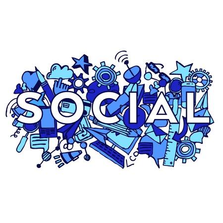 Social doddle vector background Vector