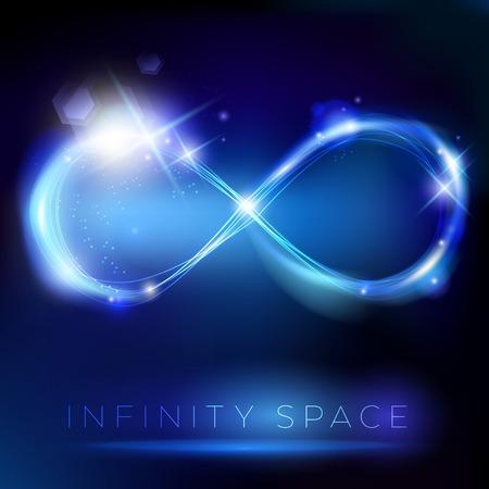 simbolo infinito: Simbolo di luce blu infinito con effetti luci sul segnaposto