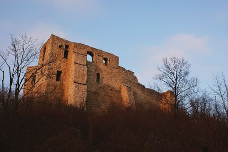 ruination: This is a ruins of the castle. Stock Photo