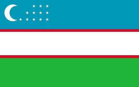 This is Uzbekistan flag illustration, computer generated. Stock Photo
